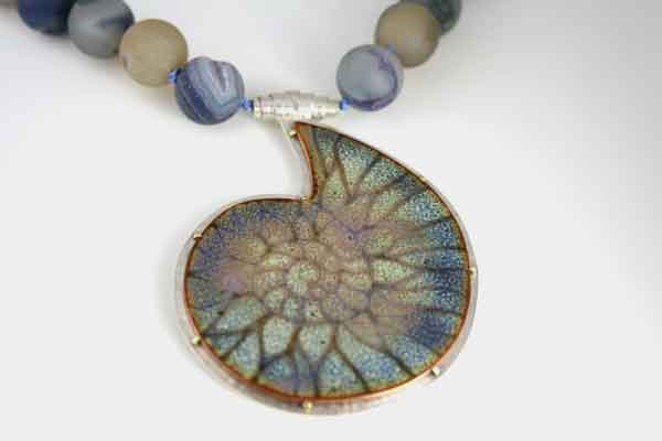 New ammonite fossil pendants linda connelly enamels and jewellery blue ammonite fossil necklace with agate beads mozeypictures Gallery