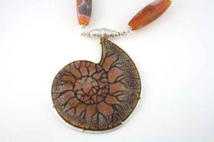 Orange-Fossil-with-Dragon-Skin-Beads-and-chain-2