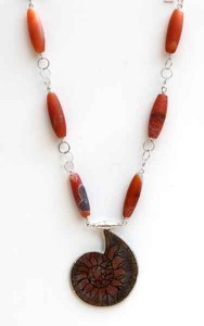 Orange-Fossil-with-Dragon-Skin-Beads-and-chain-3