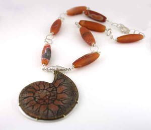 Orange Ammonite Fossil Necklace with Dragon Skin Beads