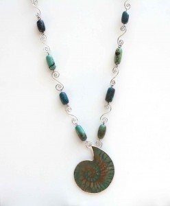 Large Turquoise Ammonite Fossil with Turquoise Beads