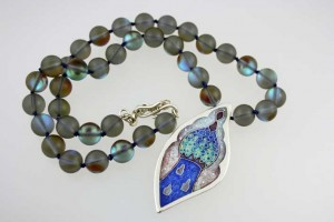 Silver and Cloisonne Enamel Pendant with glass beads on hand knotted silk