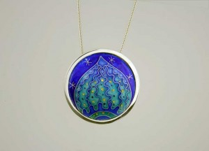 Cloisonne enamel on silver, silver moon setting, silver chain