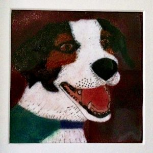 Jyppy Dog portrait in enamel
