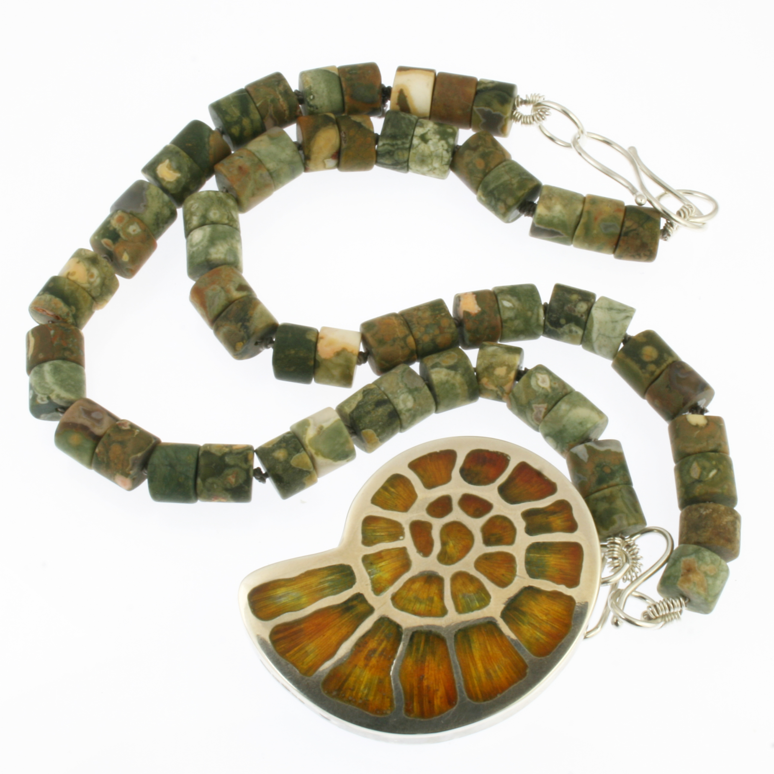 Ammonite-Fossil-necklace-with-Rhyolite-beads