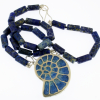 Ammonite-Fossil-necklace-with-Lapis-beads