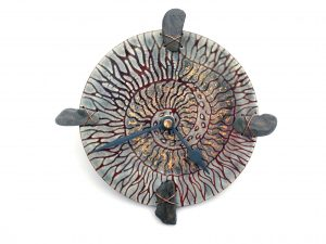 Fossil Wall Art Clock with Pebbles